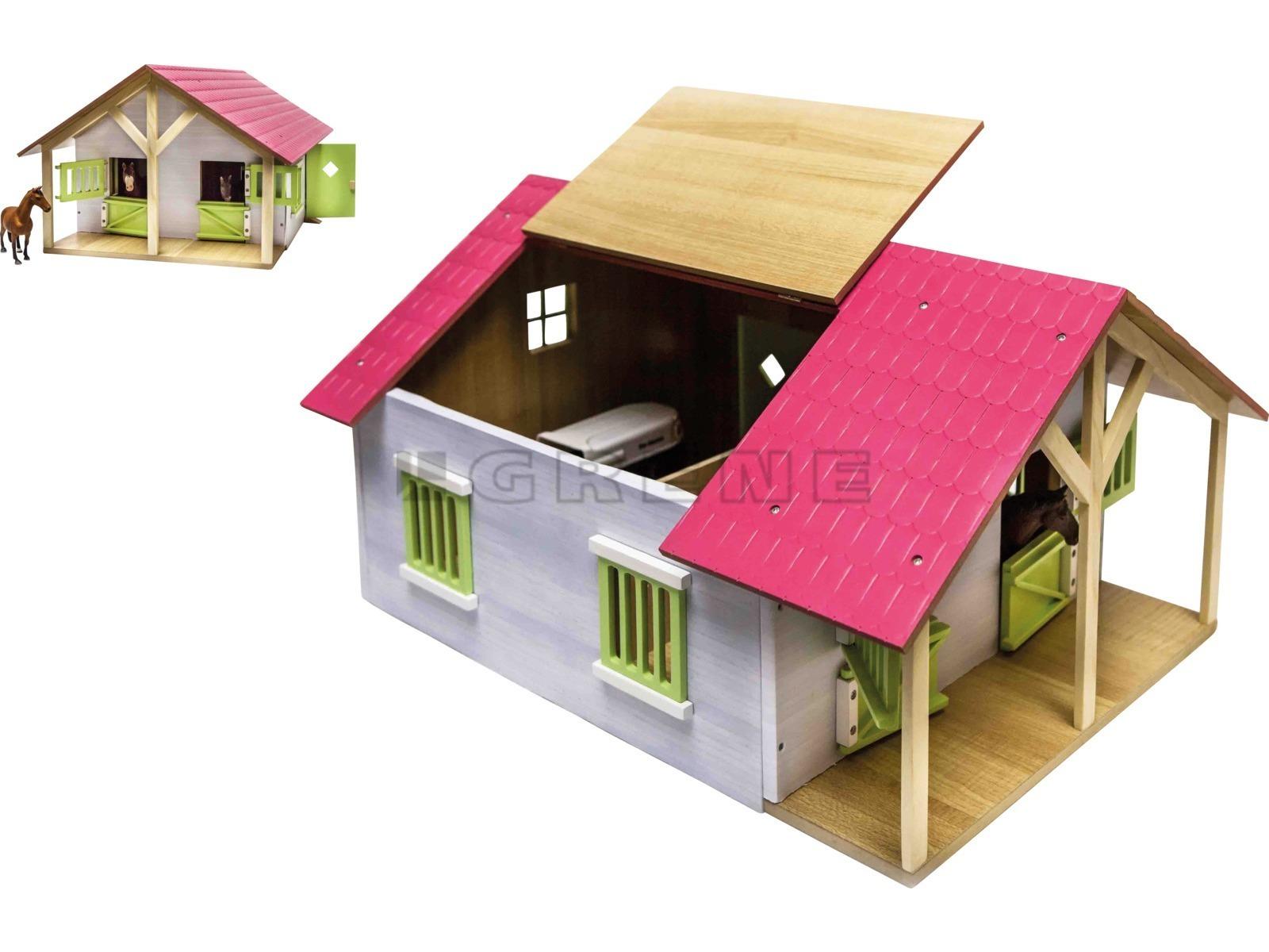 Roze Paardenstal hout met 2 boxen en berging 51x40,5x27,5cm