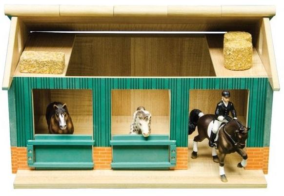 Paardenstal Hout met 2 boxen en Berging 44x32x25,8cm